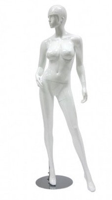 Glossy White Retro Abstract Female Mannequin - Left leg out