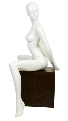 Pearl White Retro Abstract Female Mannequin - Sexy Seated Pose