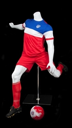 Headless Male Soccer Mannequin Gloss White