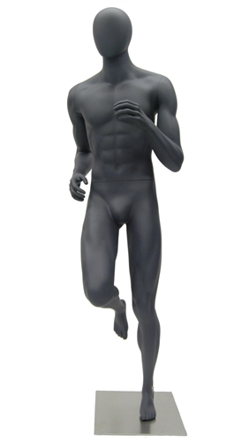Athletic Gray Egghead Male Runner Mannequin