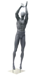 Athletic Gray Egghead Male Basketball Mannequin