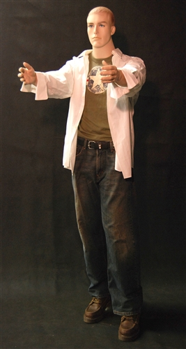 Realistic Male Mannequin with arms at sides in a straight on pose.