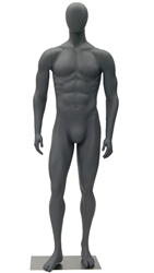 Athletic Gray Egghead Male Mannequin - Right Leg Bent