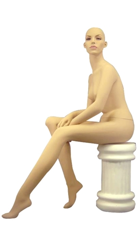 Seated Female Mannequin in Fleshtone with Realistic Facial Features