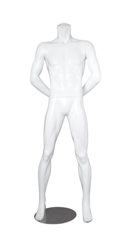 Matte Black Headless Male Mannequin Arms Behind Back