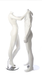 Glossy White Headless Mannequin Couple Set