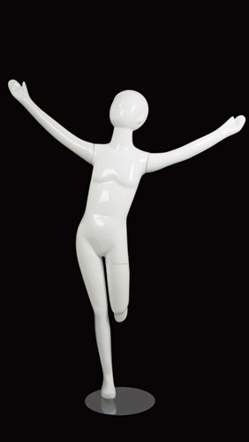 Child Mannequin Abstract Glossy White Arms Up
