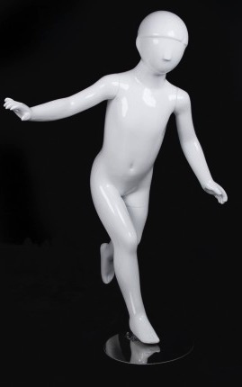 Child Mannequin Abstract Glossy White Running