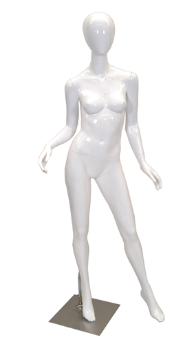 Glossy White Female Egghead Mannequin from www.zingdisplay.com