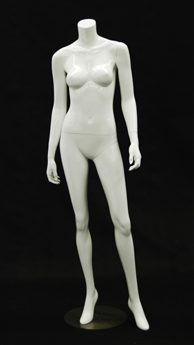 Headless Female Mannequin - Arms to Side in Gloss White Finish