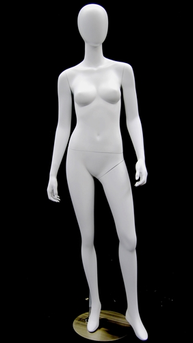 Semi-Matte White Female Egghead Mannequin with arms at sides in a standing pose.