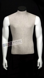 Linen Mixed Fabric 1/2 Torso Male Mannequin Form