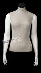 Linen Mixed Fabric 1/2 Torso Mannequin Form
