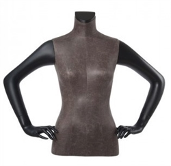 Distressed Leather Like Mixed Fabric 1/2 Torso Mannequin Hands on Hip
