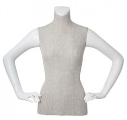 Linen Mixed Fabric 1/2 Torso Mannequin Form Hands on Hip