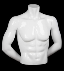 HEADLESS MALE GLOSSY WHITE FREESTANDING 1/2 TORSO FORM WITH ARMS