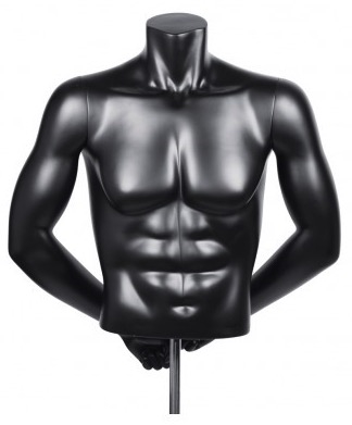 HEADLESS MALE MATTE BLACK FREESTANDING 1/2 TORSO FORM WITH ARMS
