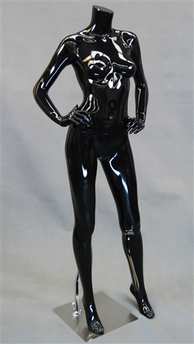 Glossy Black Headless Female Mannequin with hands on hips