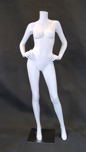 Gloss White Headless Female Mannequin with Hands on Hips from www.zingdisplay.com