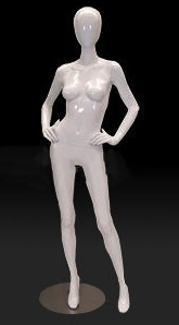 Egghead Female Mannequin in Glossy White with Hands on Hips