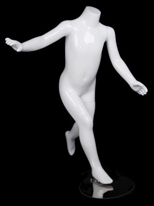 Glossy White Headless Running Unisex Child Mannequin from www.zingdisplay.com