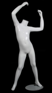 Glossy White Headless Stretching Unisex Child Mannequin from www.zingdisplay.com