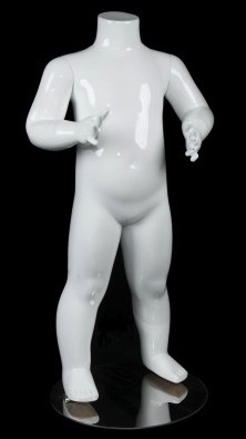 Glossy White Headless Unisex Toddler Mannequin from www.zingdisplay.com