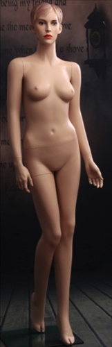 Female mannequin in flesh tone with realistic facial features.  She has molded hair and earring holes. Shop all of our realistic female mannequins at www.zingdisplay.com