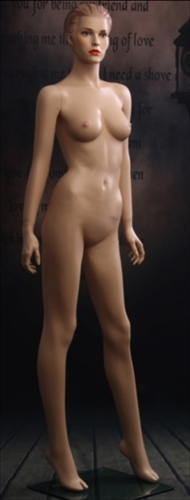 Female mannequin in flesh tone with realistic facial features.  She has molded hair and earring holes
