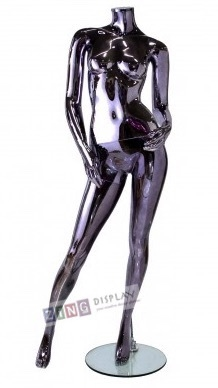 Unbreakable Black Chrome Female Headless Mannequin