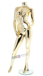 Unbreakable Metallic Gold Female Headless Mannequin