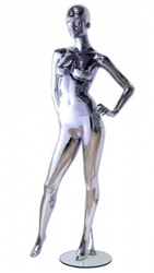 Unbreakable Black Chrome Female Egghead Mannequin Left Hand on Hip