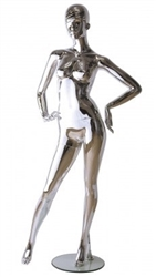 Unbreakable Silver Chrome Female Egghead Mannequin Hands on Hips