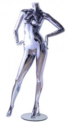 Unbreakable Black Chrome Female Headless Mannequin Hands on Hips