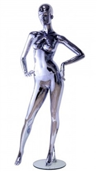 Unbreakable Black Chrome Female Egghead Mannequin Hands on Hips