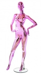 Unbreakable Metallic Pink Female Egghead Mannequin Hands on Hips