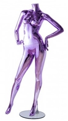 Unbreakable Metallic Purple Female Headless Mannequin Hands on Hips