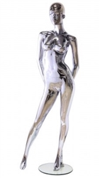 Unbreakable Silver Chrome Female Egghead Mannequin Arms Behind Back