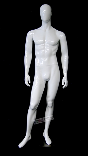 Male white glossy egghead mannequin