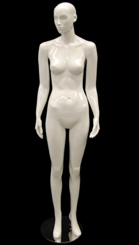 White Mannequin Abstract Head Female with Arms at Sides