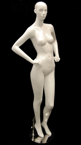 White Mannequin Abstract Head Female with Hands on Hips