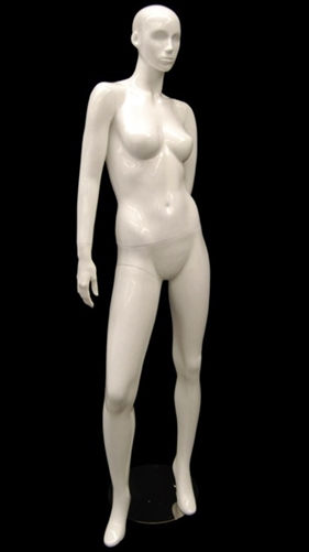 White Mannequin Abstract Head Female with Left Hand Behind Back