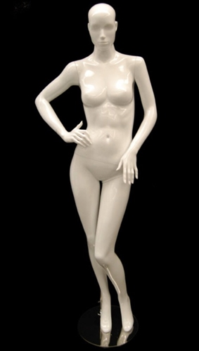 White Mannequin Abstract Head Female right hand on hip sassy pose