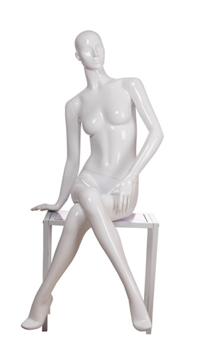 White Mannequin Abstract Head Female in Seated Pose