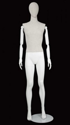 Linen Mixed Fabric Mannequin with Bendable Wooden Arms