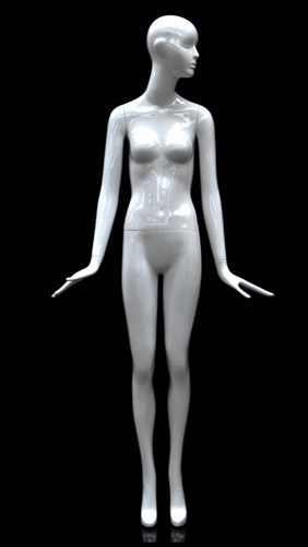 Slender Abstract Female Mannequin Glossy White Looking Left