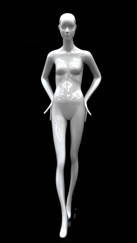 Slender Abstract Female Mannequin Glossy White Arms Bent