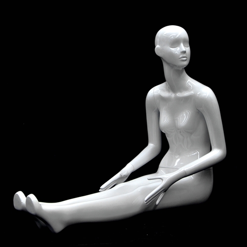 Slender Abstract Female Mannequin Glossy White Floor Seated Pose