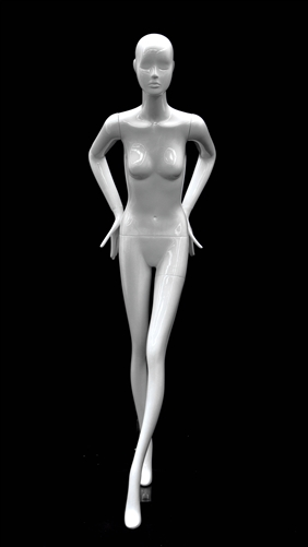 Slender Abstract Female Mannequin Glossy White Leaning Forward