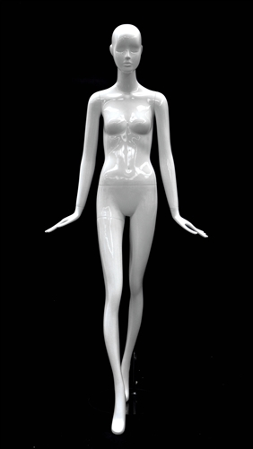 Slender Abstract Female Mannequin Glossy White Hands Flared